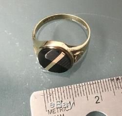 Men's/Women's 9ct Gold Vintage Onyx Stone Signet Ring Size U Weight 3.6g Stamped