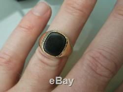 Men's/Womens Gold 9ct Gold Vintage Signet Ring Onyx Stone 4.6g Size S Stamped