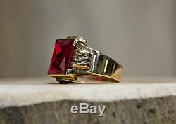 Mens 10 Kt Yellow Gold Vintage Spinel Ring Size 7.5
