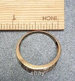 Mens 10k Gold Wide Band Wedding Statement Ring Large Size X Vintage Jewellery
