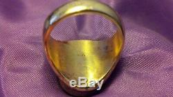 Mens 14k Vintage Solid Yellow Gold & Turquoise Ring One Oz. 585 Not Scrap Estate
