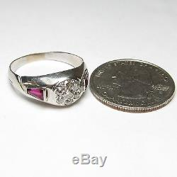 Mens 1920s Vintage 19K White Gold Mine Cut Diamond Synthetic Ruby Ring 0.25 Cts