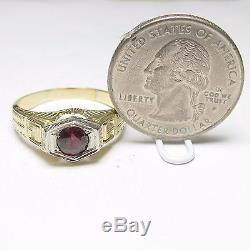 Mens 1930s Vintage 14K Yellow And White Gold 0.80 Ct Natural Red Garnet Ring