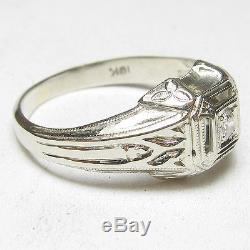 Mens 1930s Vintage 18K White Gold 0.10 Ct European Cut Diamond Solitaire Ring
