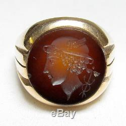 Mens 1940s Vintage 10K Yellow Gold Carved God Mercury Agate Intaglio Cameo Ring