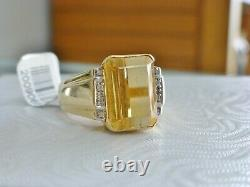 Mens 6ct. Citrine Solitaire Diamond Accent Estate Ring Vintage 14K Yellow Gold