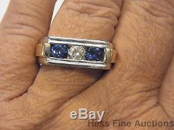 Mens Diamond Natural Sapphire Heavy 14k White Yellow Gold Vintage Ring Sz 11.25