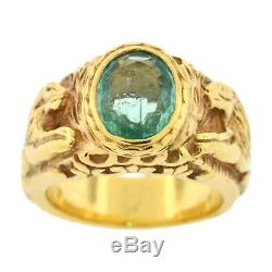Mens Real 18k Yellow Gold 1.25ct Emerald Heavy Lion Ring Estate Vintage 20.3 G