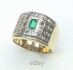 Mens Vintage 18kt Gold Emerald And Diamond Ring 11.0 Grams Size 9