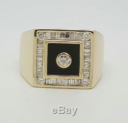 Mens Vintage 1Ct Natural Diamond 14k Yellow Gold Ring Round & Baguette Cut &Onyx