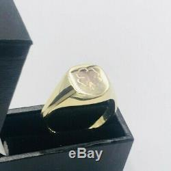 Mens Vintage 9ct Yellow Gold Lucky Clover Signet Ring sz W # 508