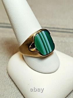 NEW Vintage 10Kt Yellow Gold Antique Green Agate Men's Ring HOUSE of KRAUS