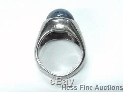 Natural Blue Star Sapphire 20ct Heavy 14k White Gold Mens Vintage Ring Sz 7.25