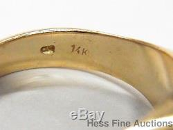 Natural Emerald Diamond 14k Gold Quality Vintage Mens Ring Size 8.5