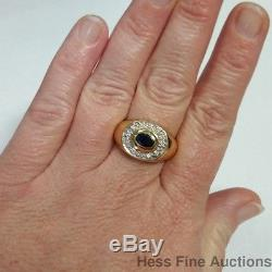 Natural Sapphire Gold Diamond 14k Yellow Mens Size 9.25 Ring Vintage