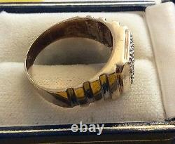 Nice Style Gents Vintage Solid 9ct White & Yellow Gold Men's Diamond Ring U