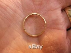 Nice Vtg Antique Men's 14k Reeded Edge Yellow Gold Wedding Band, Dated 1947
