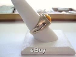 Nice vntg 10K Yellow Gold MEN'S RING cabochon TIGER's cat's EYE Stone size 10.25