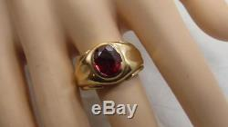 Old Vintage Art Deco 10k Solid Yellow Gold Mens Ruby Ring Band Size 9 Not Scrap