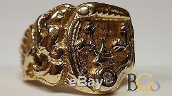 One-of-A-Kind Vintage Men's Solid 14K Yellow Gold Diamond Japanese Signet Ring