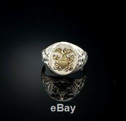 Ostby Barton Vintage Sterling Silver Men's WWII US Navy Eagle Gold Ring sz 11
