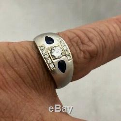 Outstanding Vintage 14k White Gold Mens. 65ct Diamond Sapphire Pinky Ring