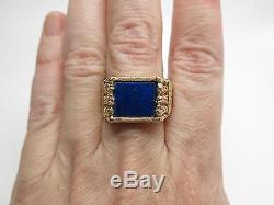 Outstanding Vintage Mens 14K Yellow Gold Lapis Lazuli Ring Size 11