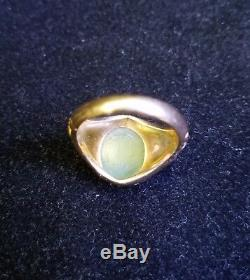 Rare Vintage Men's 14K Yellow Gold Oval Jade Cocktail Ring Size 9.5 Jewelry