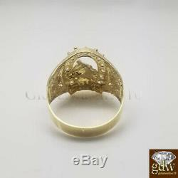 Real New 10k Yellow Gold Men's Horse Shoe Design Ring, Size 10, Vintage, Lucky