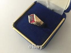 Retro Art Deco 14K Gold Man's Ring Ruby Yellow Gold, Men's Vintage