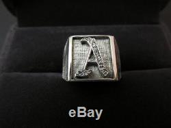 Retro Vintage 14k Solid White Gold Letter A Monogram Mens Ring Size 7.75