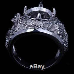 Silver Wrapped In White Gold Ring Semi Mount Vintage Deco Art Men's Ring SZ10.5#