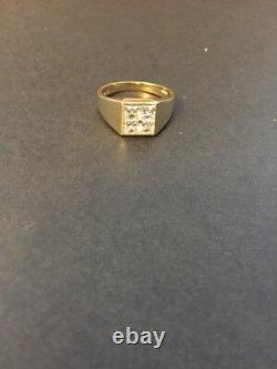 Solid 10K Yellow Gold Mens Clear CZ Statement Ring Size 9.5 Vintage