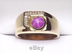 Solid 14K Diamond & Star Sapphire/Ruby Cabochon Men's Ring Heavy Vintage Gold