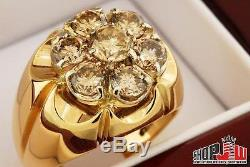 Solid 14K Gold 3.00ct Champagne Diamond Mens Cluster Ring 7 Stone Vintage Estate