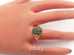 Super Mens Vintage Solid 9ct Gold Onyx Signet Pinky Ring Size S