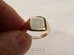 Superb Mens Vintage 18ct Gold Heavy Signet Pinky Ring Size P 17.97mm 4.4 Grams