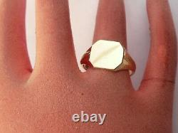 Superb Mens Vintage Heavy 9ct Gold Signet Pinky Ring Size S 19.15mm 5.2 Grams