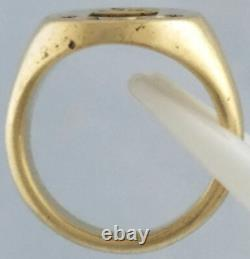 Tiffany & Co. 14k Solid Yellow Gold Size 7.5 Signet Vintage Mens Ring Royal