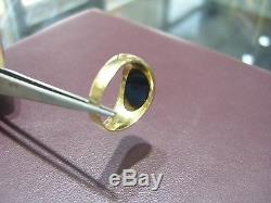 Tiffany & Co Vintage Men`s 14k Yellow Gold Black Onyx Ring Size 10.5 Authentic