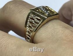 Unique Mens Vintage 14k Yellow Gold Diamond Ring Open Textured Band Sz 10.75