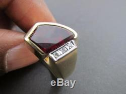 Unique Retro Vintage Diamond Octagon Cut Ruby 10k Solid Yellow Gold Men's Ring