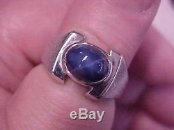 VINTAGEAWESOMEMENS BLUE STAR SAPPHIRE SOLITAIRE RING 14K WHITE GOLD sz9 GIFT
