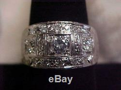 VINTAGEMENS1.01ctw NATURAL DIAMOND RING 14K WHITE GOLD sz9 AWESOME FIND
