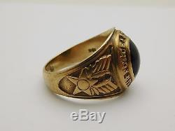 VINTAGE 10k Yellow Gold / Onyx UNITED STATES AIR FORCE Men's 1956 Ring Size 8.75