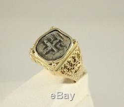 VINTAGE 14K SOLID YELLOW GOLD MENS COB SHIPWRECK SILVER COIN RING 8.6g SIZE 8