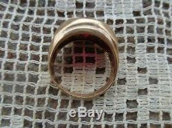 VINTAGE ART DECO MENS 10K YELLOW GOLD LAB RUBY DIAMOND SOLITAIRE RING size 9.25