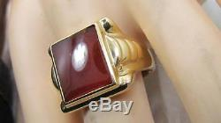 VINTAGE ART DECO MENS SOLID 14K YELLOW GOLD CARNELIAN RING WIDE BAND SZ 11 9.8GR