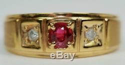 VINTAGE ESTATE MEN'S RING NATURAL RUBY DIAMONDS 14K SOLID YELLOW GOLD Size 11.5