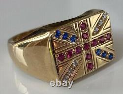 VINTAGE GENTS MENS CHUNKY HEAVY PATRIOTIC UNION JACK RING 9ct GOLD RING 9.6 GRAM
